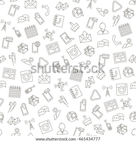 Set of Social life pattern black icons