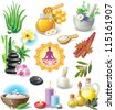 Set of spa treatment symbols - stock photo