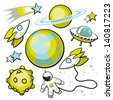 Set of Space Objects. Cartoon set of space objects on a white background. - stock