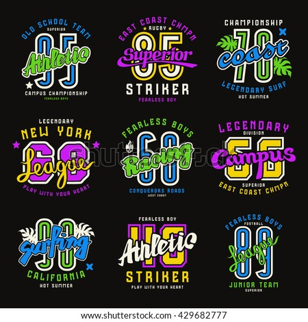 Set Of Sport Emblems Surfing Racing Rugby Graphic Design For T Shirt