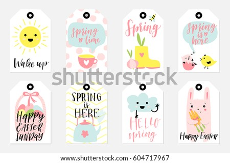 Easter gift tags cute easter bunny stock vector 380859580 set of spring and easter gift tags and labels with cute cartoon characters signs and negle Gallery