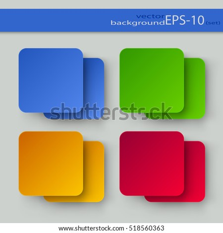 Set of Square Color Backgrounds on a Light Background. EPS-10. Mesh Gradient and Transparency were Used.