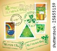 Set of St. Patrick mail's elements (postage, postmark), vector illustration - stock vector