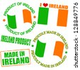Set of stamps and labels with the text made in Ireland written inside - stock vector