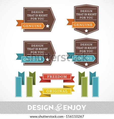 Set of stickers and ribbons, design concept, vector illustration