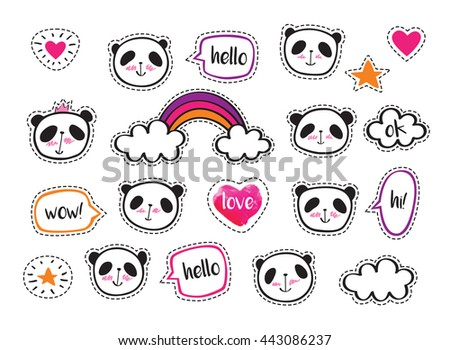 Set Stickers Cute Pandas Bubbles Badges Vectores En Stock 443173666 Shutterstock