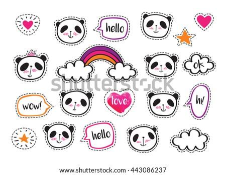 Set Stickers Cute Pandas Bubbles Badges Vectores En Stock 443173666 Shutterstock