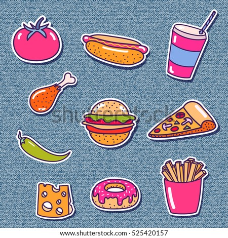 Set of stickers with street food doodle element. Vector trendy illustration.  Fashion pin badges on denim background.