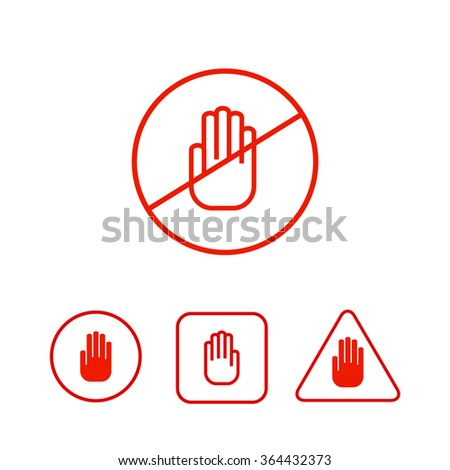 Set of stop hand icons prohibition danger restriction