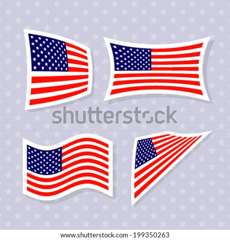 Set of stylish american flags. Independence day design. Vector illustration