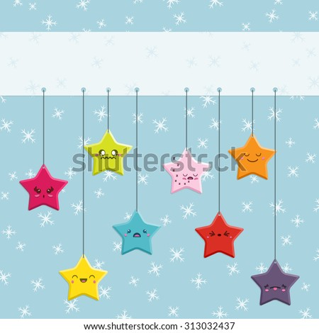 Set of 8 super cute Kawaii style Christmas stars with different expressions hanging from a banner with space for your text.  This vector file is EPS10 and uses transparencies and clipping masks.