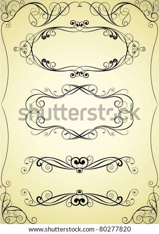 Set of swirl frame and corner design