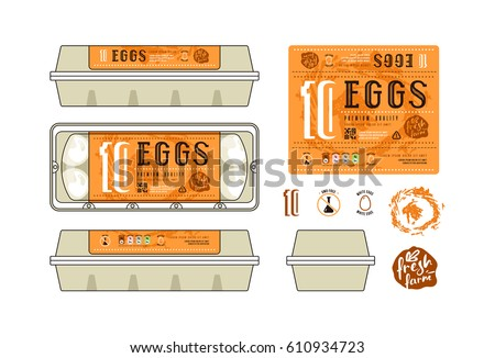 Set template labels egg packaging label stock vector 610089194 set of template labels for egg packaging label with orange background pronofoot35fo Image collections
