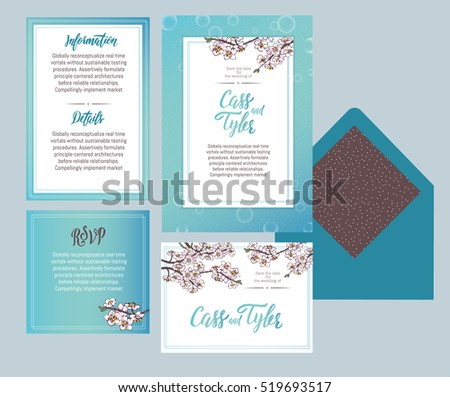 Set Of Templates For Wedding Invitation, Postcard, Information List,  Respond, Reply And  Invitation Information Template