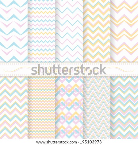 Set of ten modern seamless chevron patterns. Soft  colors. Swatches of seamless patterns included in the file.