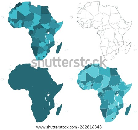 Set of the contour border Africa maps. All objects are independent and fully editable