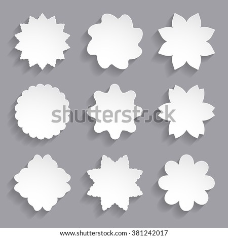 set of the white paper flower shapes