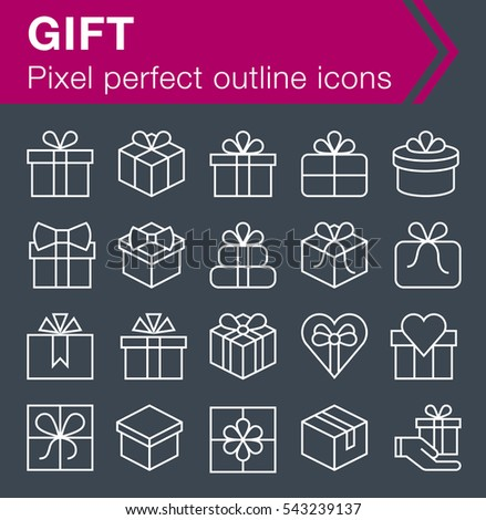 Set of thin line gift icons for mobile apps and web design.  Pixel perfect trendy thin line icons. Editable stroke.