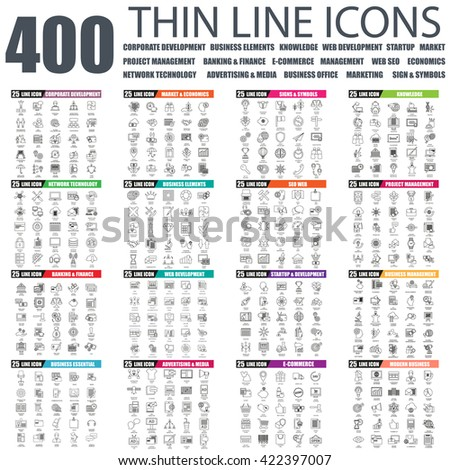 Set of thin line icons for corporate development, project management, network tehnology, banking, business office, web development, startup, market, economics, seo, advertising. Linear symbols set.