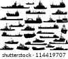 Set of 30 (thirty) silhouettes of sea yachts, towboat, battleship and ships - stock photo
