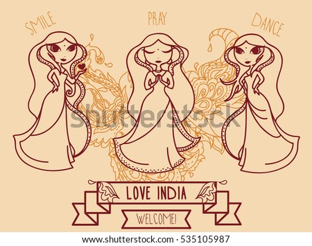 set of three cute doodle indian girls, banner for travel to india, vector illustration