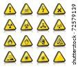 Set of three-dimensional Warning Hazard Signs - stock vector