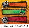 Set of three movie banners on grungy background with place for text, vector - stock photo