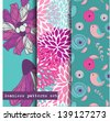 Set of three seamless pattern. Flowers and birds theme. Easy editable, vector format. - stock vector
