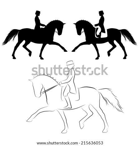 Dressage Riders Simplified Silhouettes Horse Rider Stock ...
