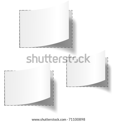 Set of three white blank tags. Vector eps10 illustration