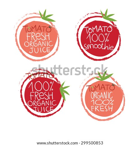 Set of tomato labels and symbols in vector, fresh and organic mix
