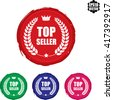 Set of 4 Top seller stamp.Vector. - stock vector