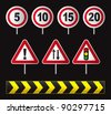 set of traffic sign - stock photo
