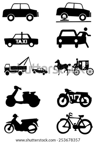 Set of transportation vector icon.