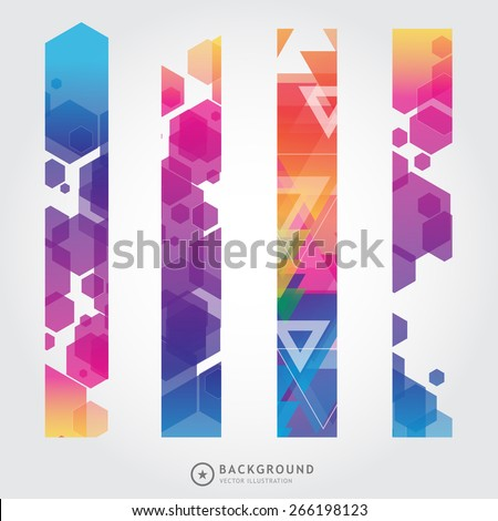 Set of trendy bright colorful vector banners template or website headers with abstract geometric background. Vector design illustration EPS10