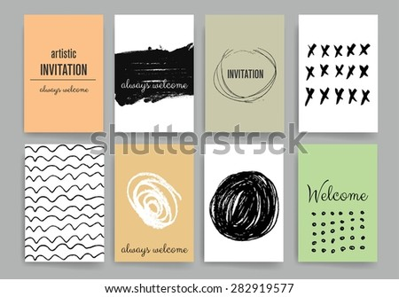 Set Trendy Posters Hand Drawn Background Stock Vector 282919604