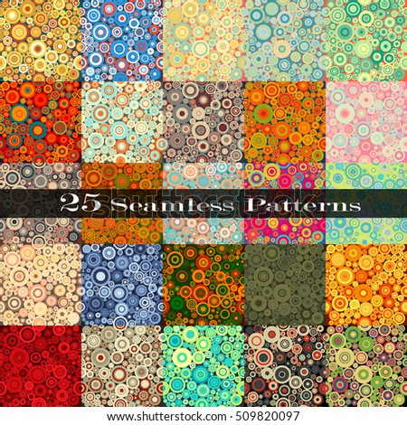 Set Of Twenty Five Seamless Patterns With Perfectly Contacting Nested Circles With Different Size And Colors.