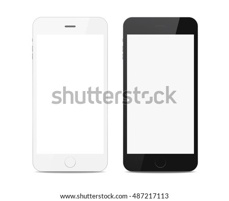 Set of two different of black and white smart phones