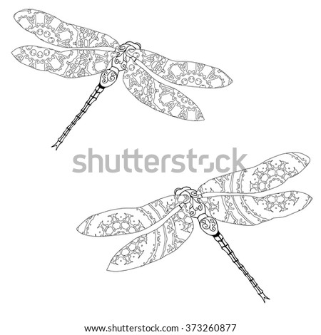 Set of two zentangle style dragonflies isolated on white. Hand drawn black and white vector illustration with abstract pattern. Adult coloring page for meditative relaxation