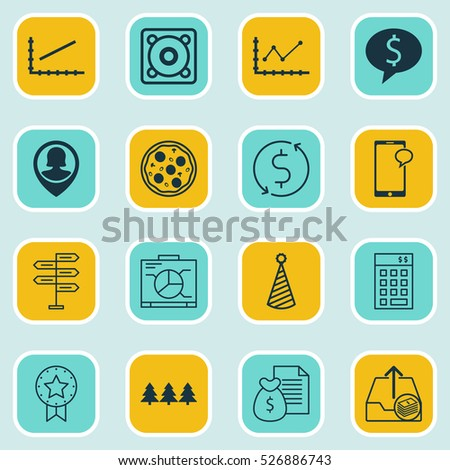 Set Of 16 Universal Editable Icons. Can Be Used For Web, Mobile And App Design. Includes Elements Such As Business Deal, Investment, Pin Employee And More.