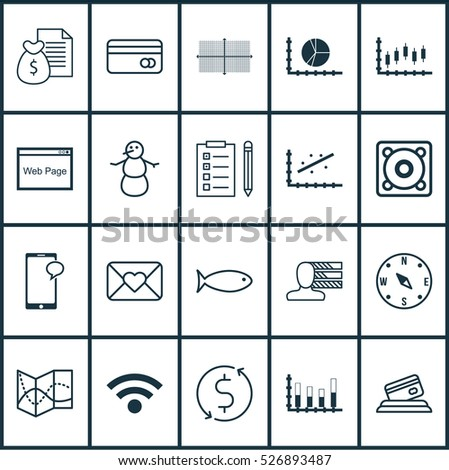 Set Of 20 Universal Editable Icons. Can Be Used For Web, Mobile And App Design. Includes Elements Such As Report, Money Trasnfer, Wireless And More.