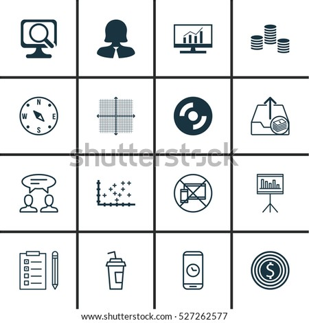 Set Of 16 Universal Editable Icons. Can Be Used For Web, Mobile And App Design. Includes Elements Such As Call Duration, Blank Cd, Market Research And More.