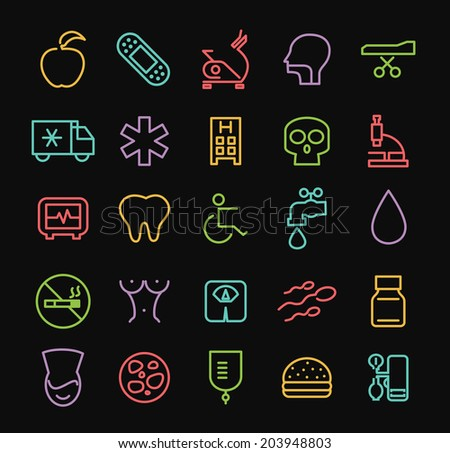 Set of Universal Minimal Thin Line Colored Neon Stroke Medical Icons on Black Background.