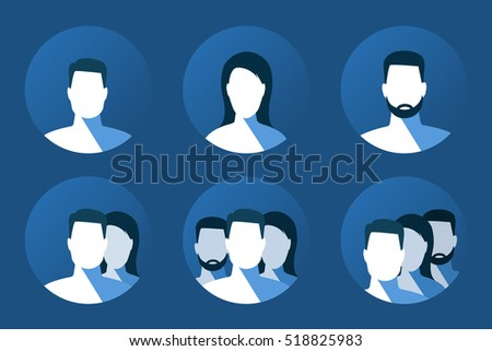 Set of users and team avatars on blue abckground and with long shadow