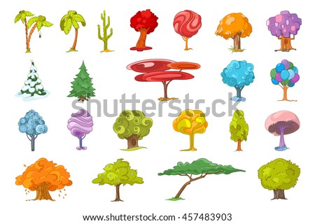 Set of various cute trees. Collection of colourful fantasy trees. Palm trees, mexican tall cactus, autumn trees, fir-trees, colourful fairy trees. Vector illustration isolated on white background.