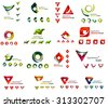 Set of various geometric icons -rectangles triangles squares or circles. Made of swirls and flowing wavy elements. Business, app, web design logo templates.
