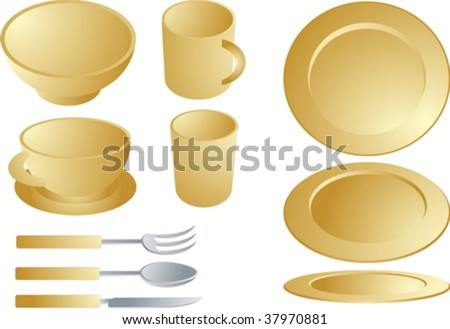 Set of various plates and cultery, dishware set illustration