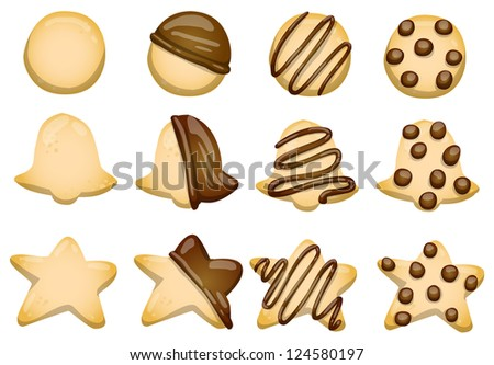 set of various shortbread isolated on white