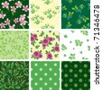 set of various vector seamless floral pattern - stock vector