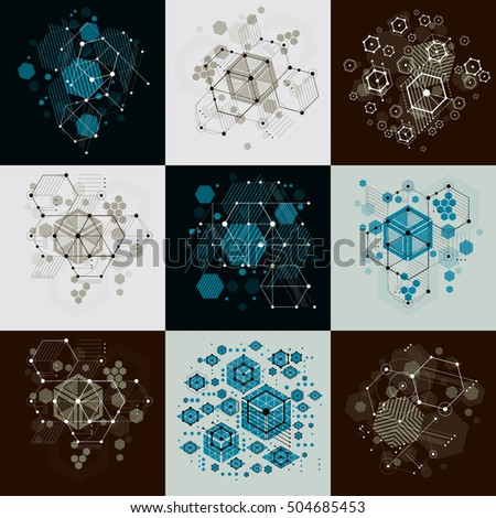 Set of vector abstract backgrounds created in Bauhaus retro style using honeycombs and circles. Modern geometric composition can be used as templates and layouts.